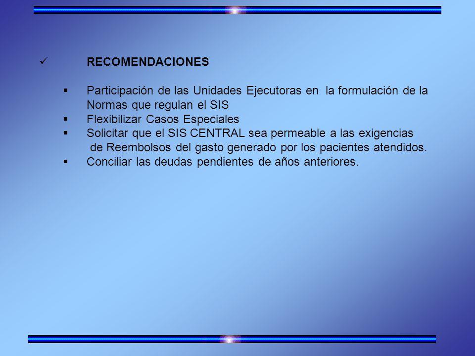 RECOMENDACIONES Participación de las Unidades Ejecutoras en la formulación de la. Normas que regulan el SIS.