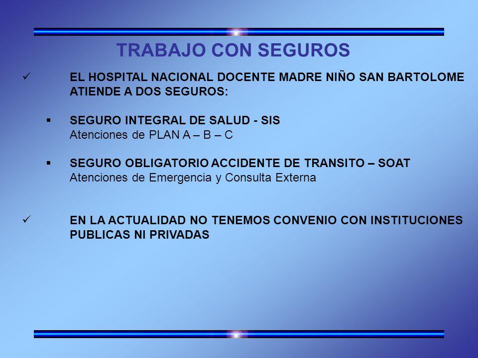 TRABAJO CON SEGUROS EL HOSPITAL NACIONAL DOCENTE MADRE NIÑO SAN BARTOLOME. ATIENDE A DOS SEGUROS: SEGURO INTEGRAL DE SALUD - SIS.