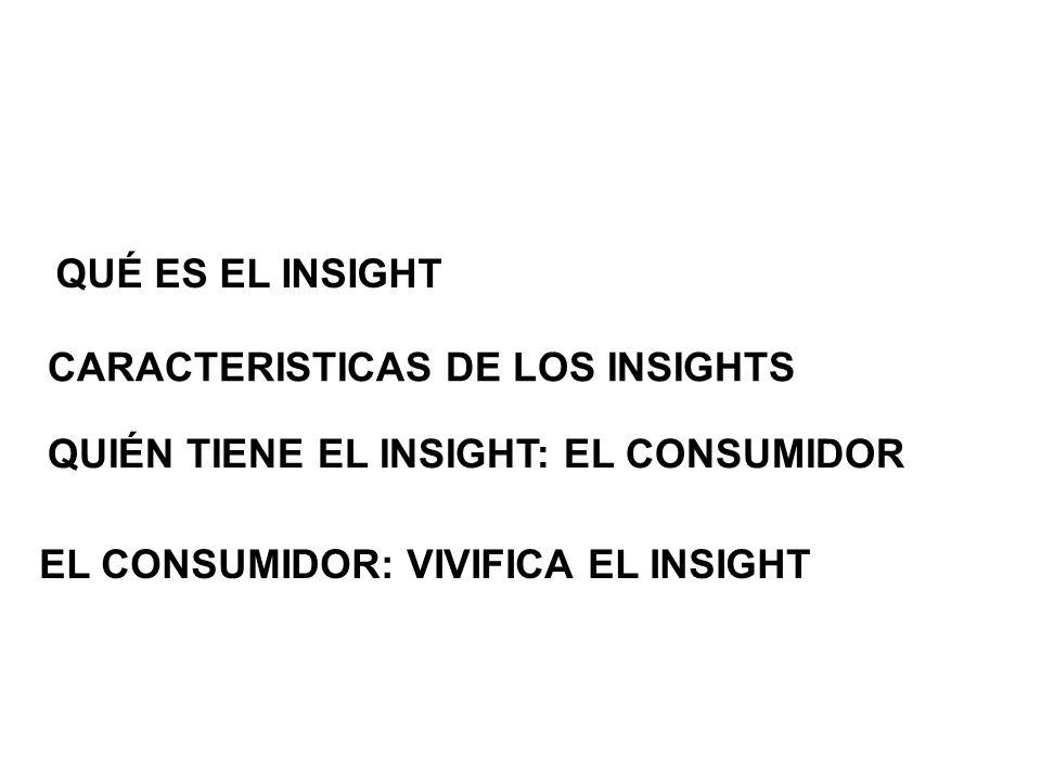 QUÉ ES EL INSIGHTCARACTERISTICAS DE LOS INSIGHTS.QUIÉN TIENE EL INSIGHT: EL CONSUMIDOR.