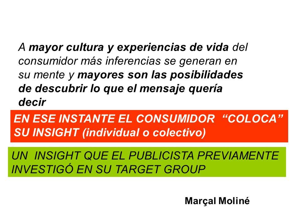 UN INSIGHT QUE EL PUBLICISTA PREVIAMENTE INVESTIGÓ EN SU TARGET GROUP