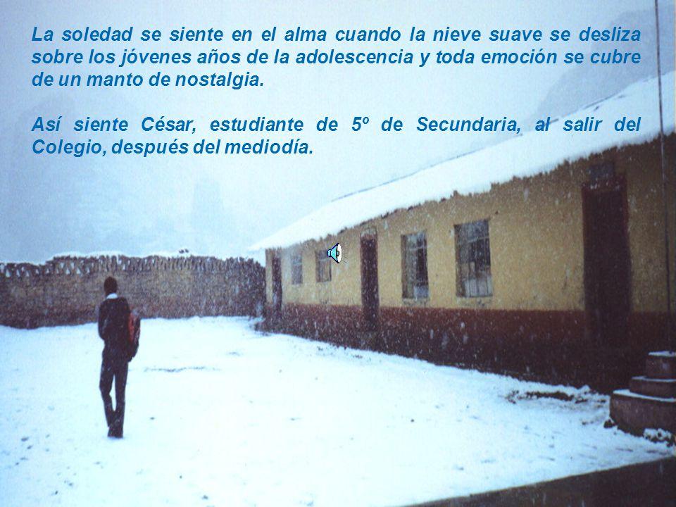 La soledad se siente en el alma cuando la nieve suave se desliza sobre los jóvenes años de la adolescencia y toda emoción se cubre de un manto de nostalgia.