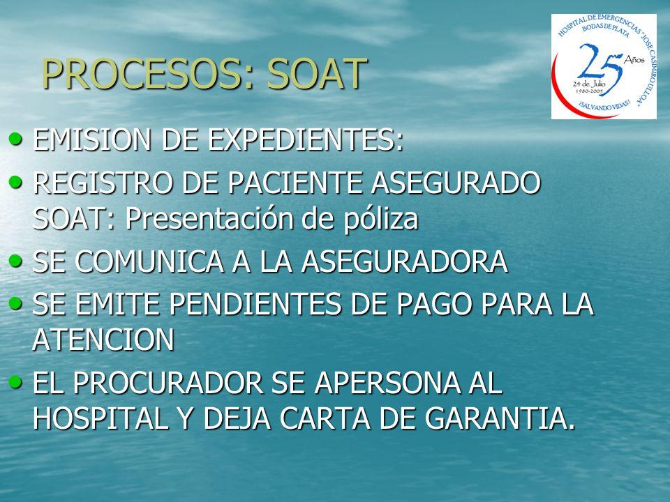 PROCESOS: SOAT EMISION DE EXPEDIENTES: