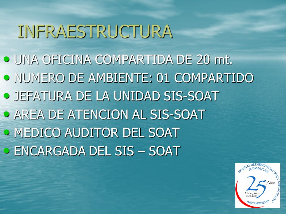 INFRAESTRUCTURA UNA OFICINA COMPARTIDA DE 20 mt.