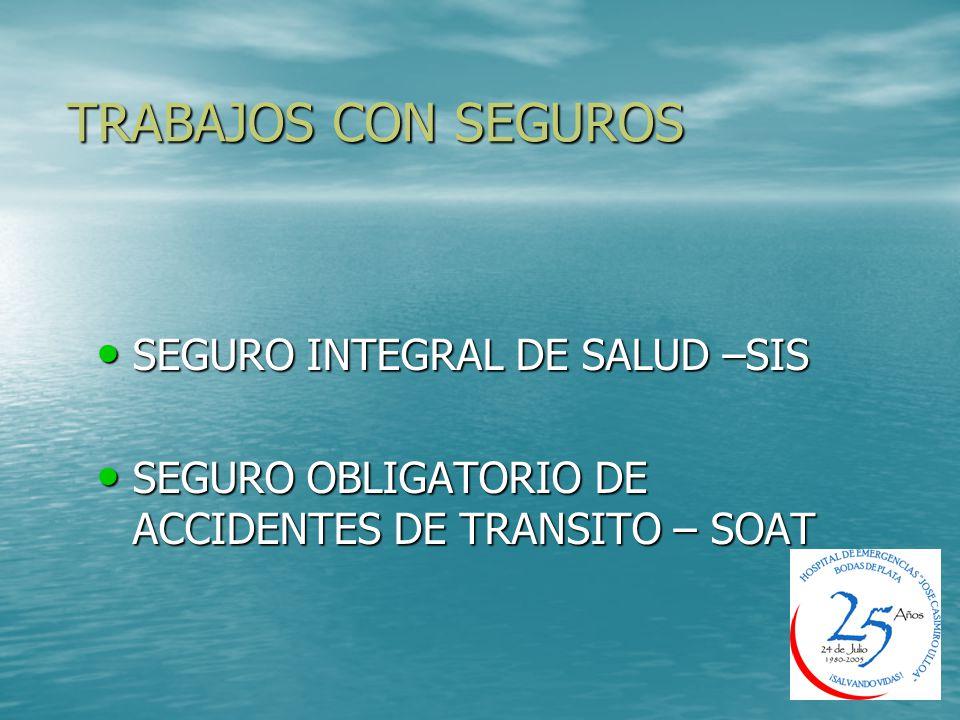 TRABAJOS CON SEGUROS SEGURO INTEGRAL DE SALUD –SIS