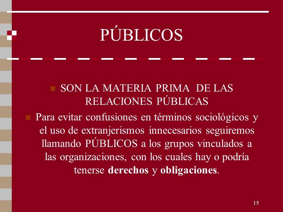 SON LA MATERIA PRIMA DE LAS RELACIONES PÚBLICAS
