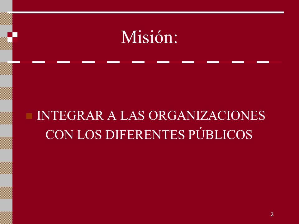 Misión: INTEGRAR A LAS ORGANIZACIONES CON LOS DIFERENTES PÚBLICOS
