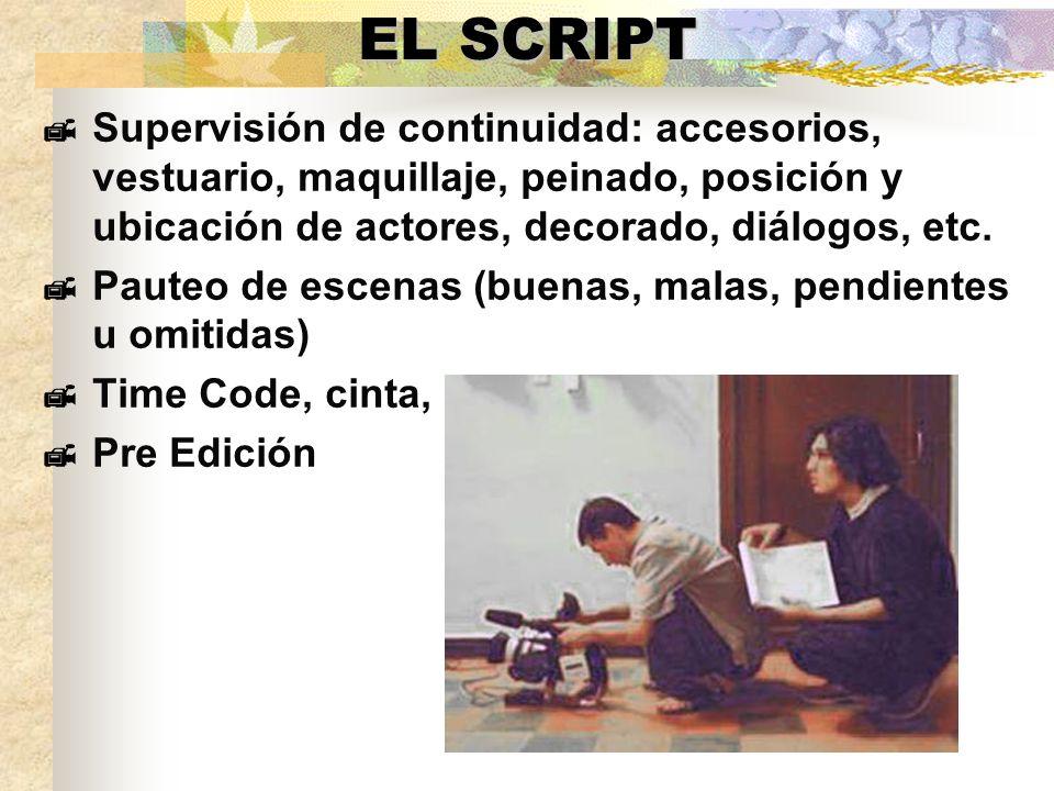 EL SCRIPT Supervisión de continuidad: accesorios, vestuario, maquillaje, peinado, posición y ubicación de actores, decorado, diálogos, etc.