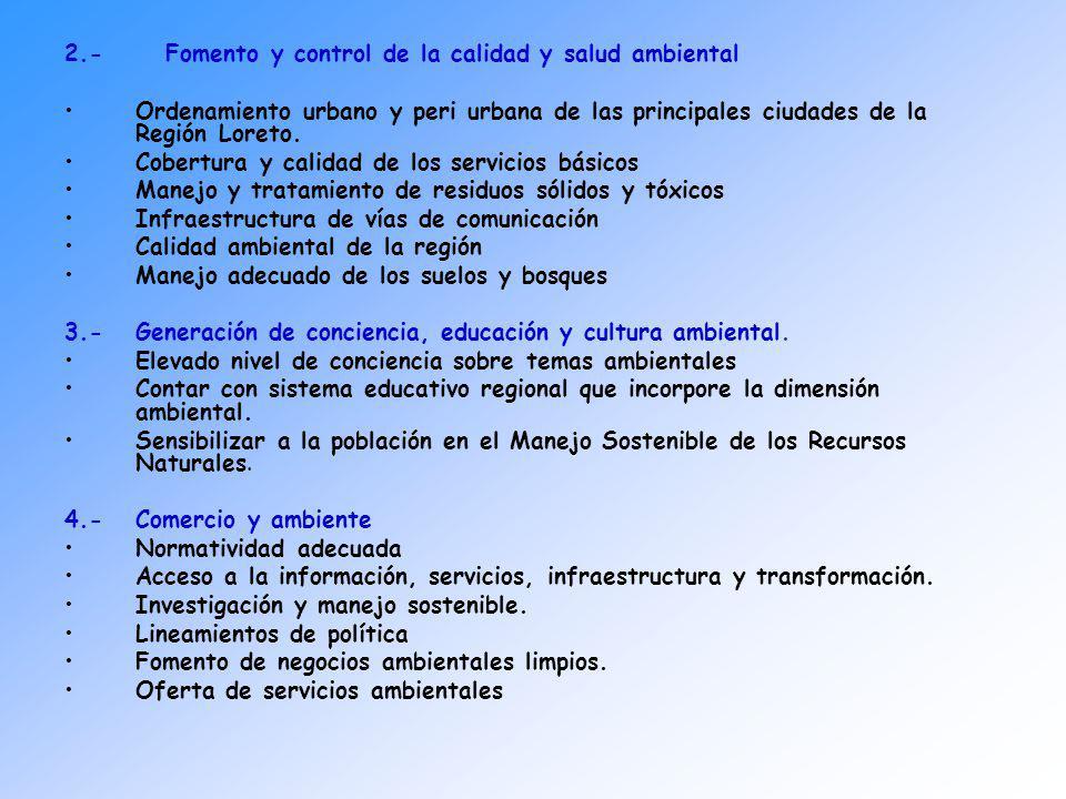 2.- Fomento y control de la calidad y salud ambiental