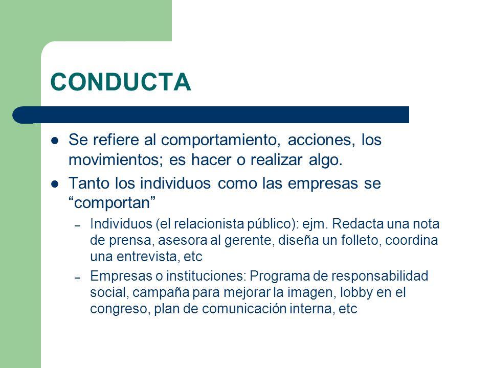 CONDUCTA Se refiere al comportamiento, acciones, los movimientos; es hacer o realizar algo. Tanto los individuos como las empresas se comportan