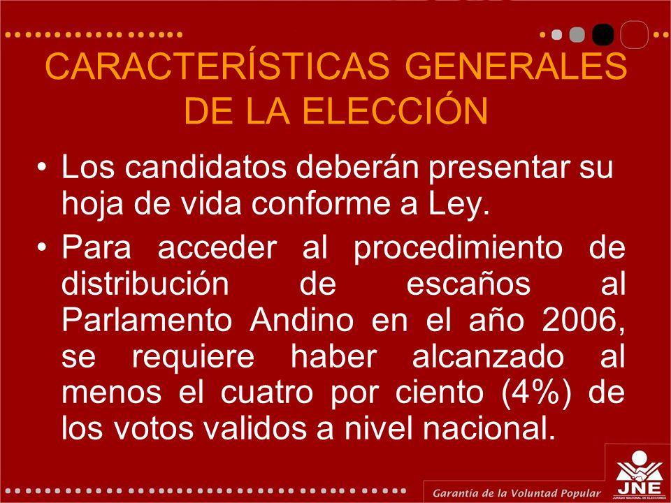 CARACTERÍSTICAS GENERALES DE LA ELECCIÓN