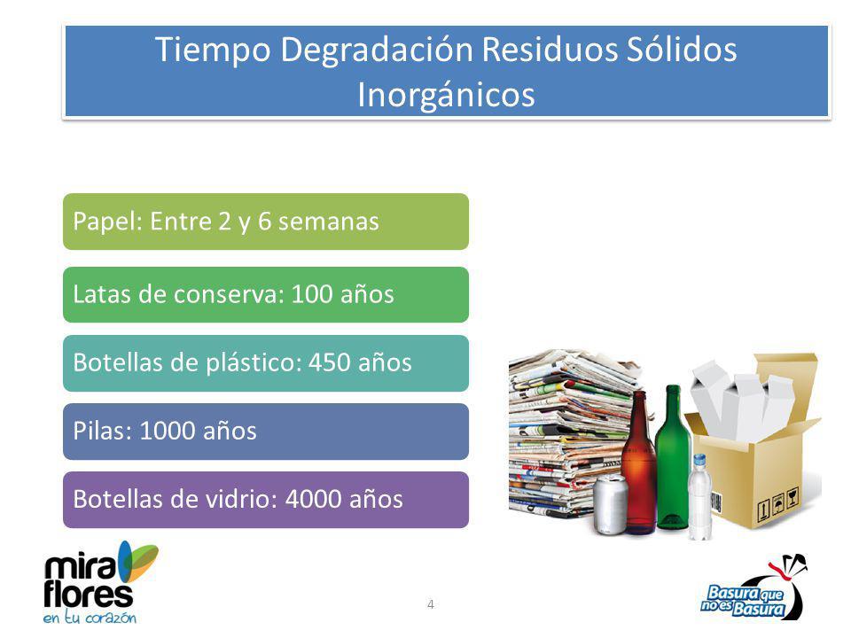 Tiempo Degradación Residuos Sólidos Inorgánicos