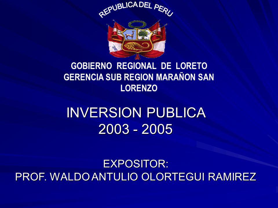 GOBIERNO REGIONAL DE LORETO GERENCIA SUB REGION MARAÑON SAN LORENZO