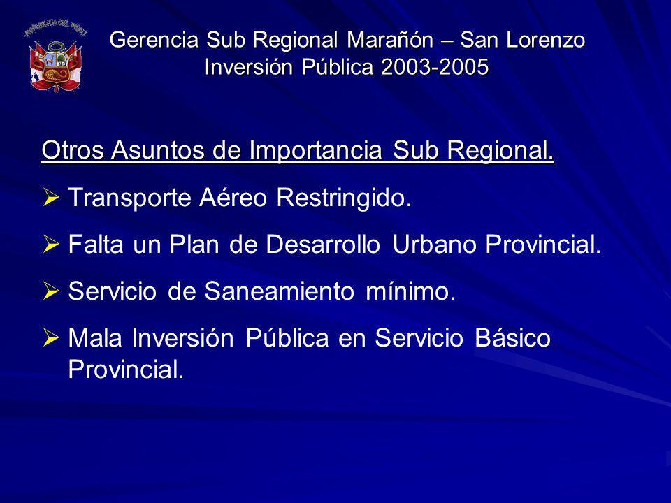 Otros Asuntos de Importancia Sub Regional.