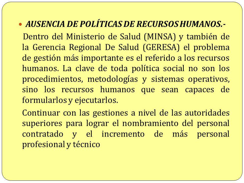 AUSENCIA DE POLÍTICAS DE RECURSOS HUMANOS.-