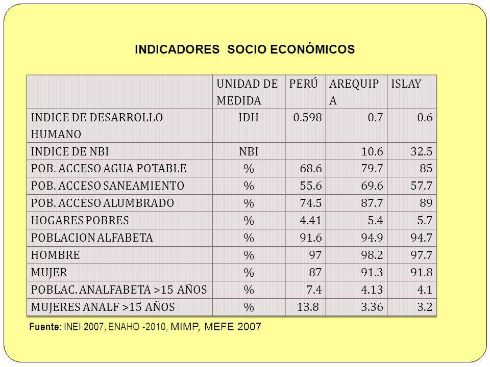INDICADORES SOCIO ECONÓMICOS
