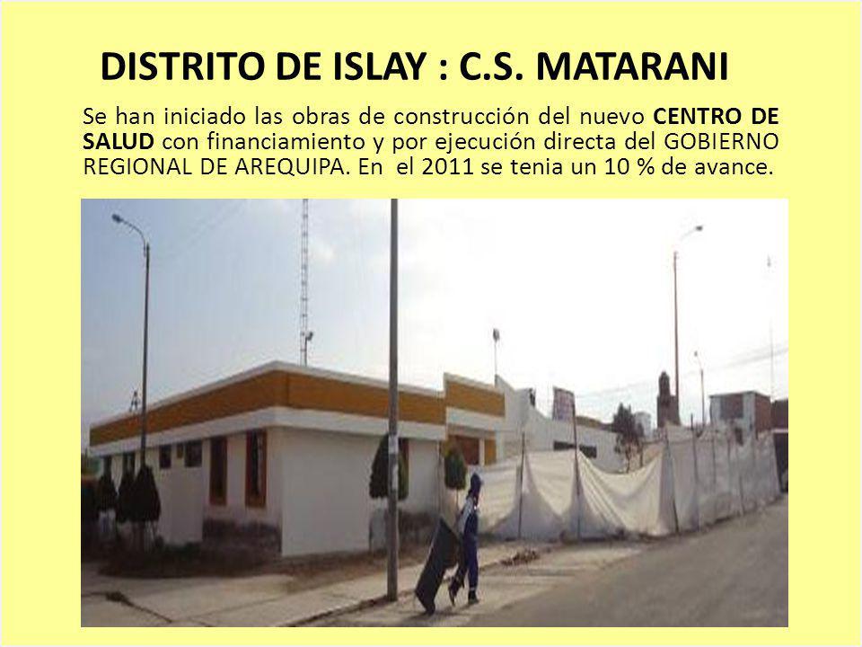 DISTRITO DE ISLAY : C.S. MATARANI