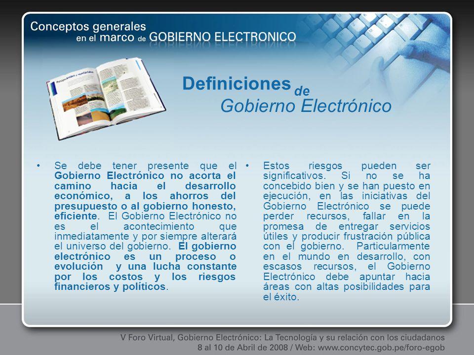 Definiciones Gobierno Electrónico de