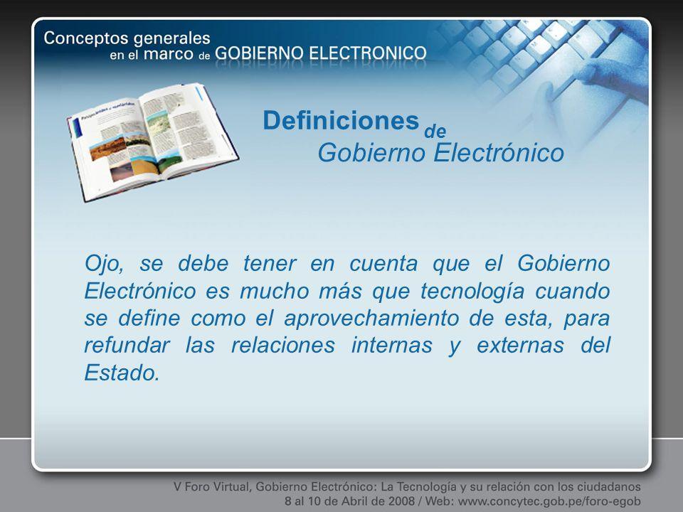 Definiciones Gobierno Electrónico