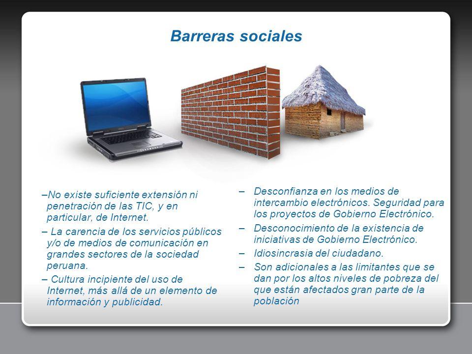 Barreras sociales Desconfianza en los medios de intercambio electrónicos. Seguridad para los proyectos de Gobierno Electrónico.