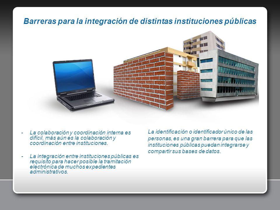 Barreras para la integración de distintas instituciones públicas