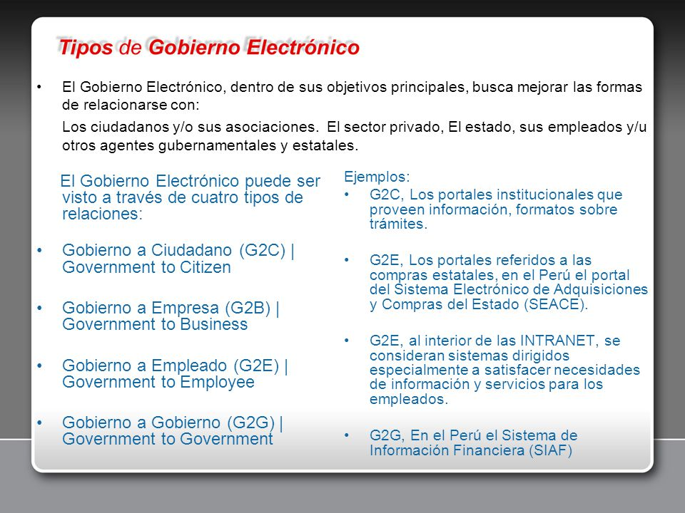 Gobierno a Ciudadano (G2C) | Government to Citizen