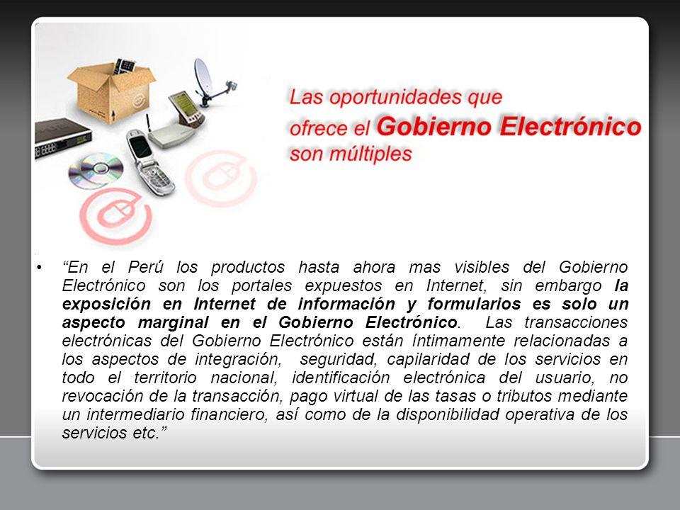 En el Perú los productos hasta ahora mas visibles del Gobierno Electrónico son los portales expuestos en Internet, sin embargo la exposición en Internet de información y formularios es solo un aspecto marginal en el Gobierno Electrónico.