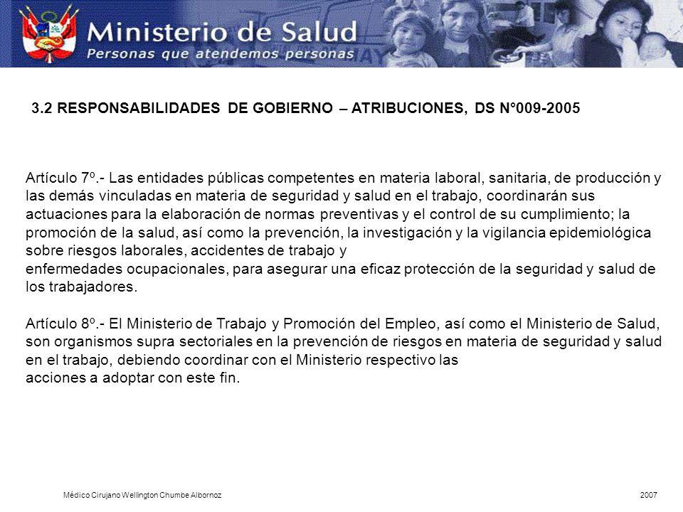 3.2 RESPONSABILIDADES DE GOBIERNO – ATRIBUCIONES, DS N°009-2005
