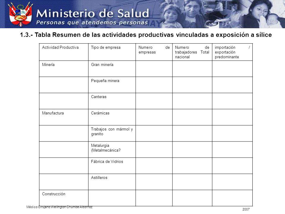 1.3.- Tabla Resumen de las actividades productivas vinculadas a exposición a sílice