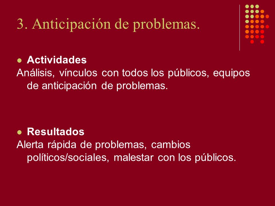 3. Anticipación de problemas.
