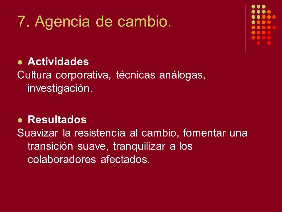 7. Agencia de cambio. Actividades