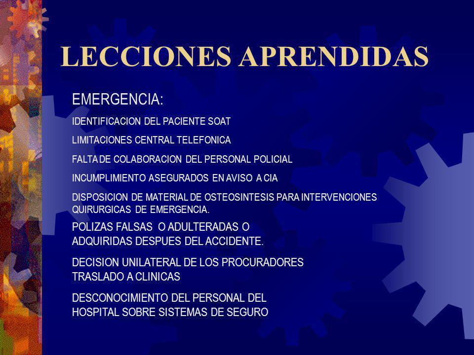 LECCIONES APRENDIDAS EMERGENCIA: