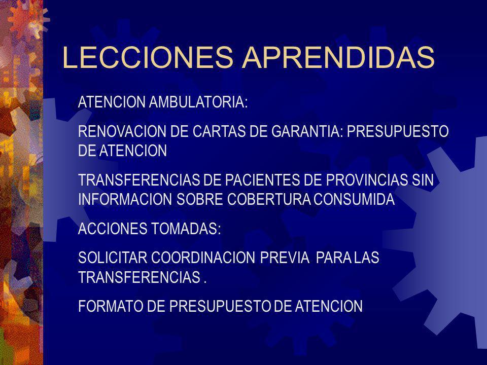 LECCIONES APRENDIDAS ATENCION AMBULATORIA: