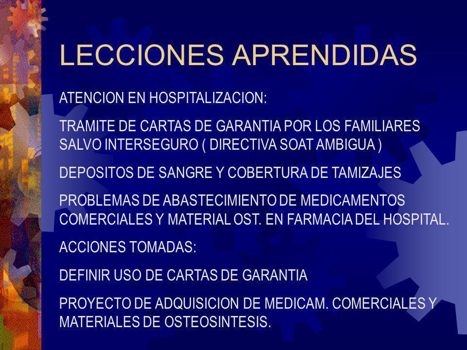 LECCIONES APRENDIDAS ATENCION EN HOSPITALIZACION: