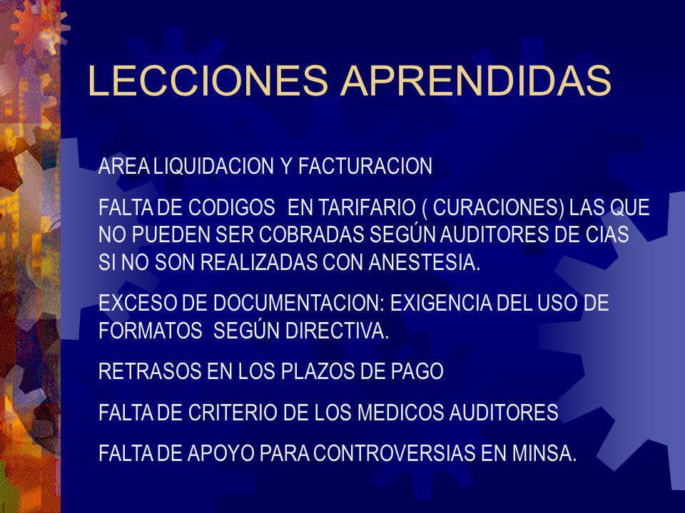 LECCIONES APRENDIDAS AREA LIQUIDACION Y FACTURACION