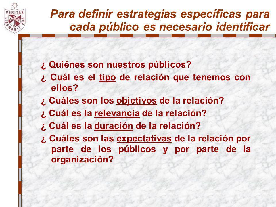 Para definir estrategias específicas para cada público es necesario identificar