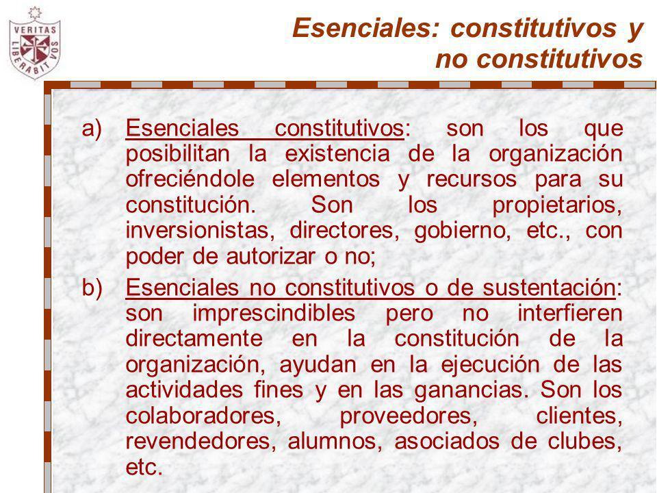 Esenciales: constitutivos y no constitutivos
