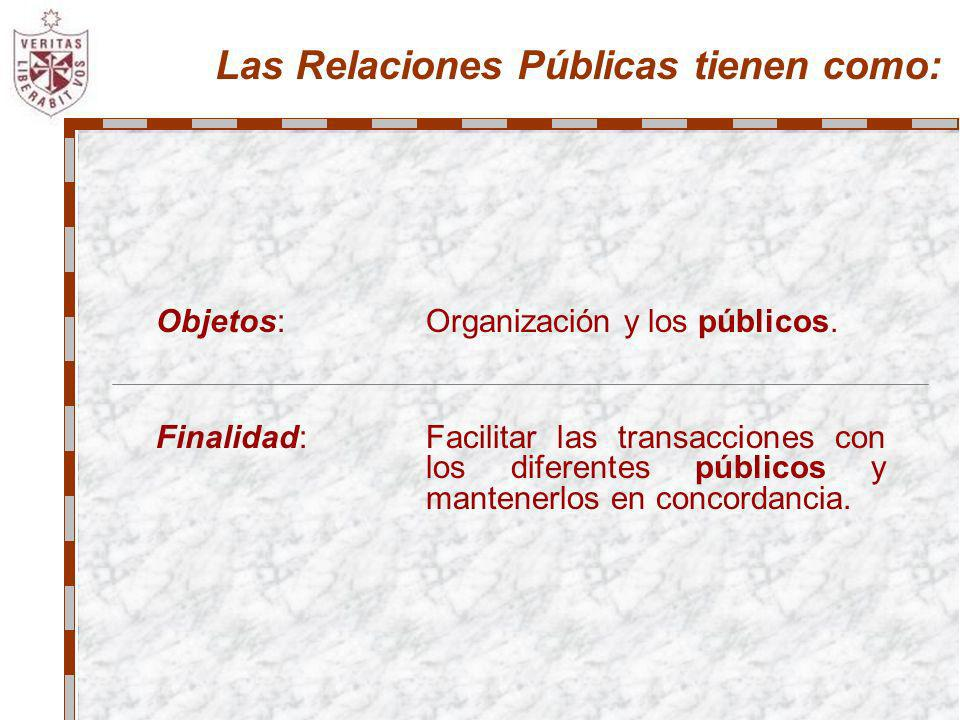 Las Relaciones Públicas tienen como: