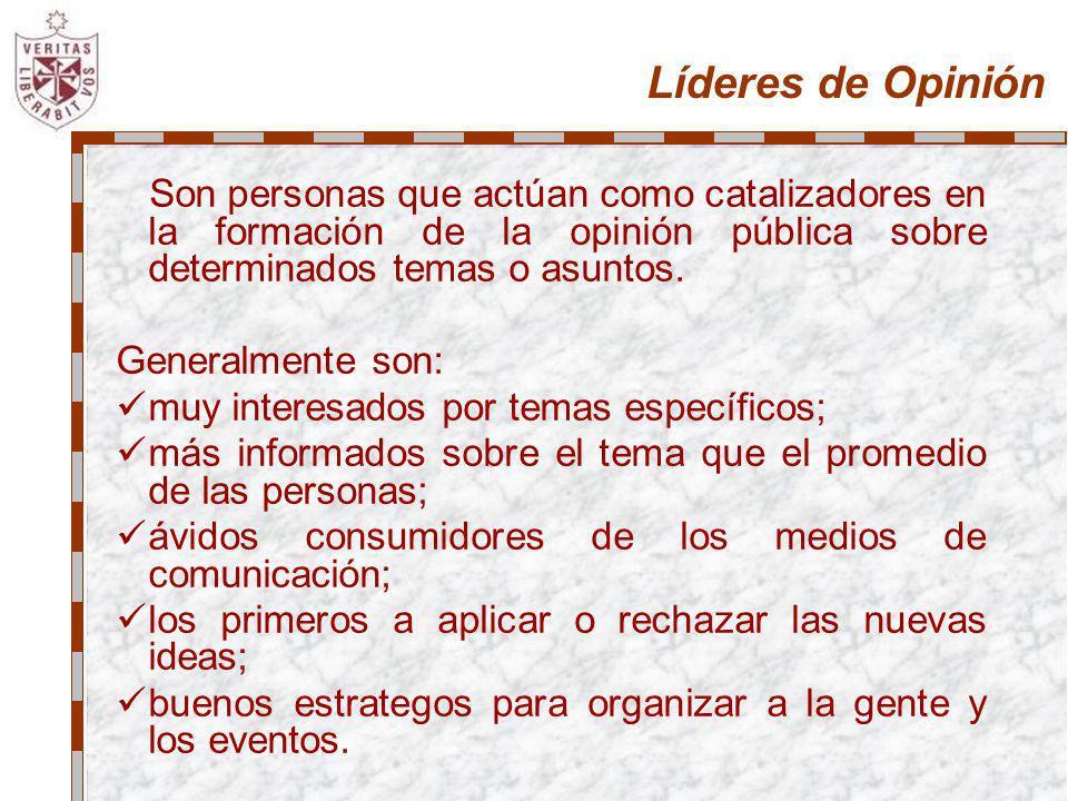 Líderes de OpiniónSon personas que actúan como catalizadores en la formación de la opinión pública sobre determinados temas o asuntos.