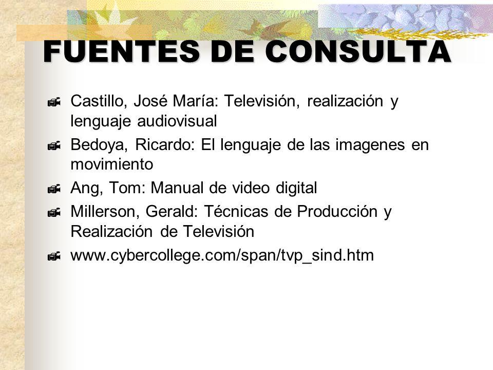 FUENTES DE CONSULTA Castillo, José María: Televisión, realización y lenguaje audiovisual. Bedoya, Ricardo: El lenguaje de las imagenes en movimiento.