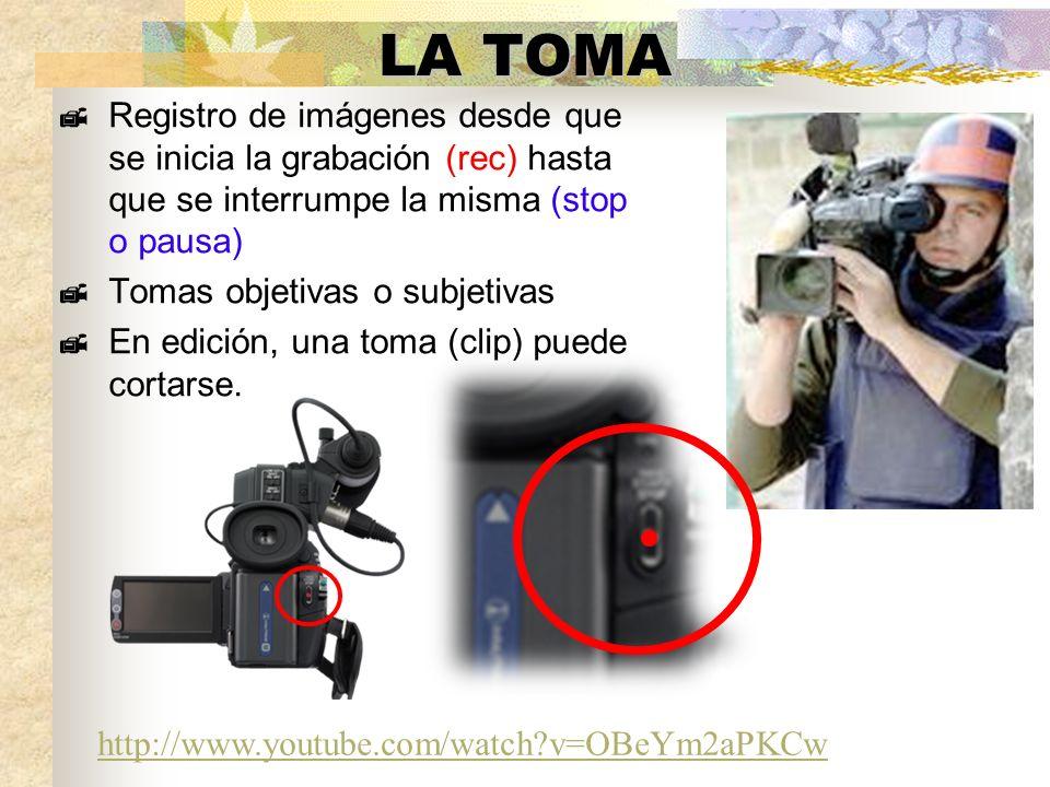 LA TOMA Registro de imágenes desde que se inicia la grabación (rec) hasta que se interrumpe la misma (stop o pausa)