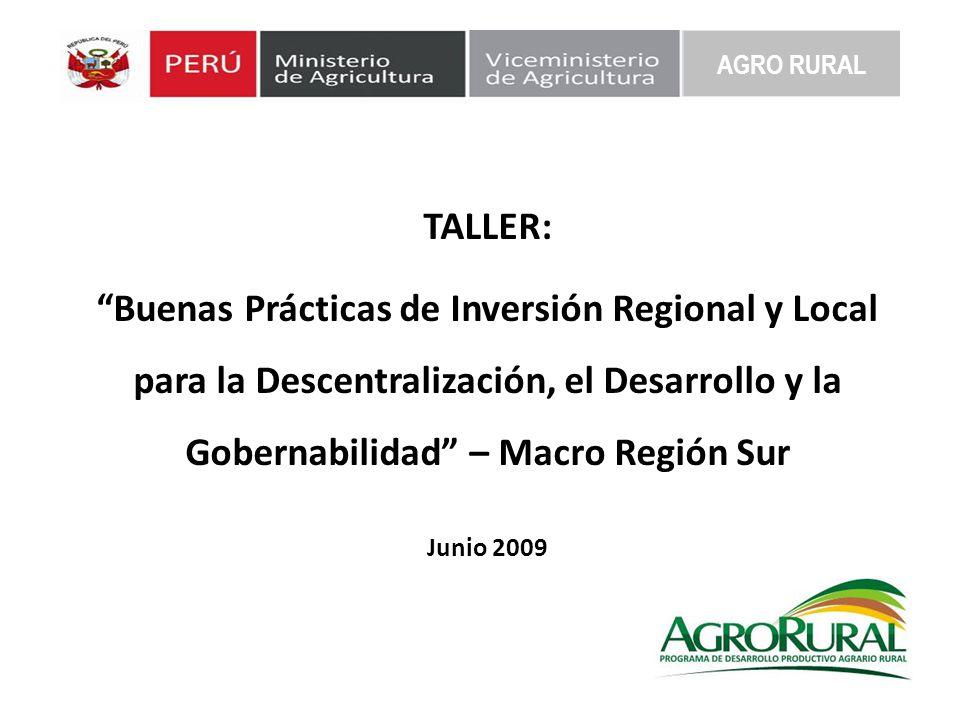 AGRO RURAL TALLER: Buenas Prácticas de Inversión Regional y Local para la Descentralización, el Desarrollo y la Gobernabilidad – Macro Región Sur.