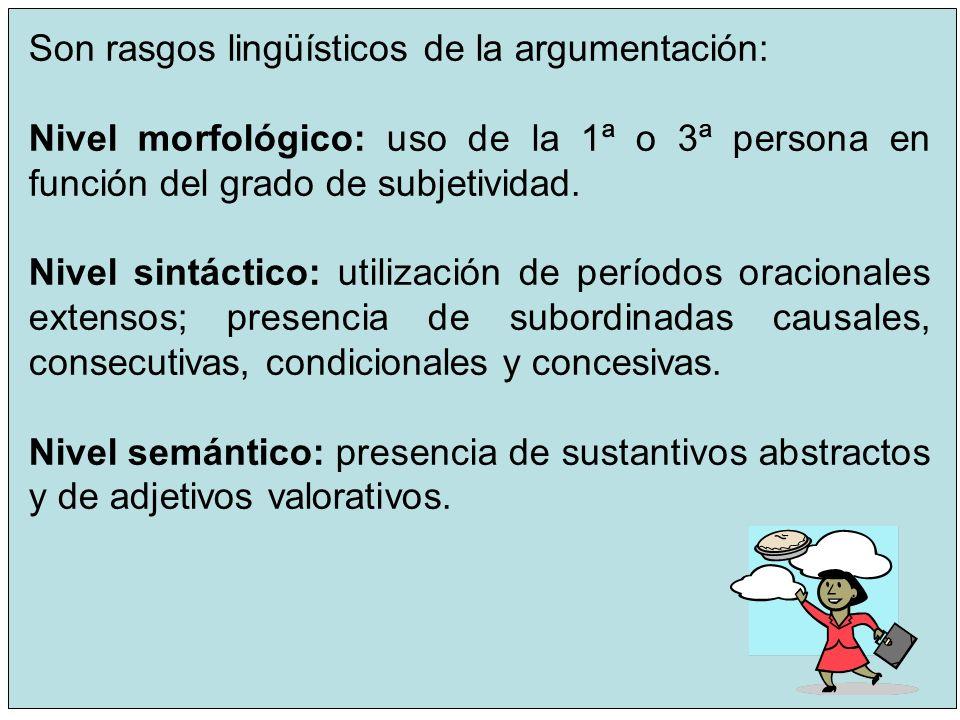 Son rasgos lingüísticos de la argumentación: