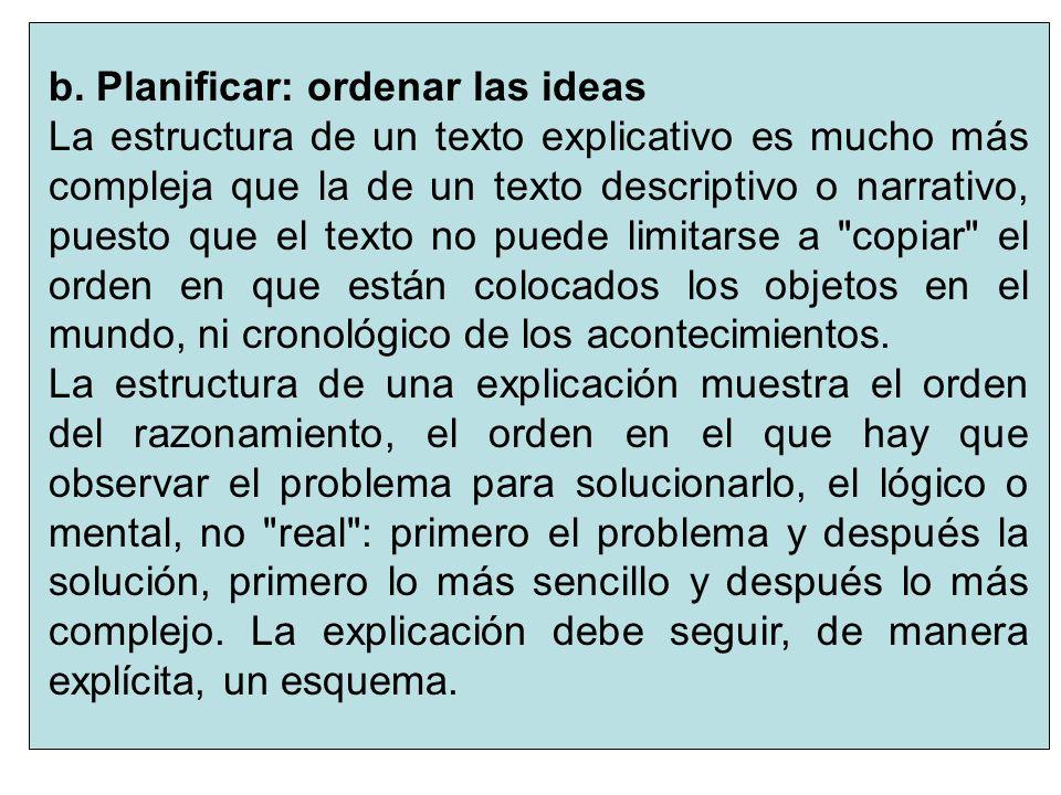 b. Planificar: ordenar las ideas