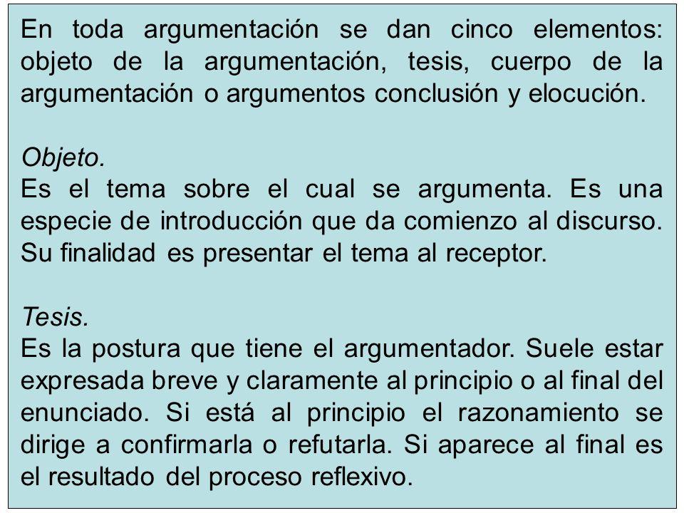 En toda argumentación se dan cinco elementos: objeto de la argumentación, tesis, cuerpo de la argumentación o argumentos conclusión y elocución.