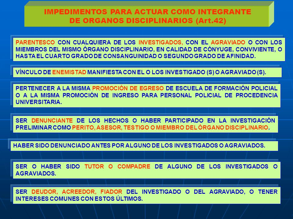 IMPEDIMENTOS PARA ACTUAR COMO INTEGRANTE