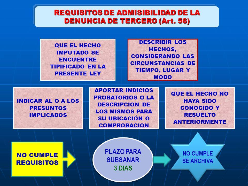 REQUISITOS DE ADMISIBILIDAD DE LA DENUNCIA DE TERCERO (Art. 56)