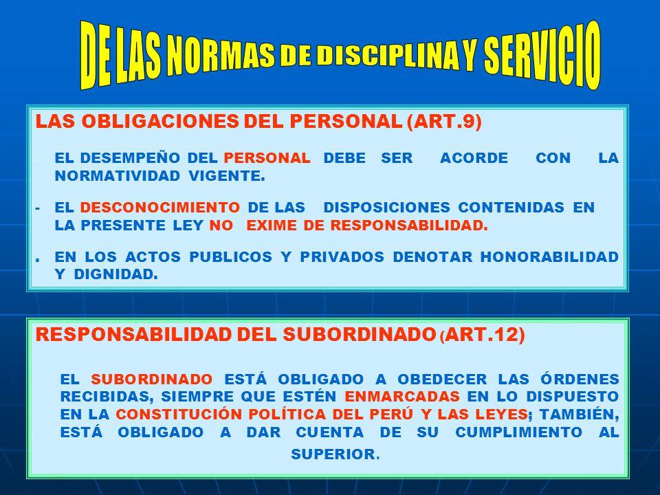 DE LAS NORMAS DE DISCIPLINA Y SERVICIO