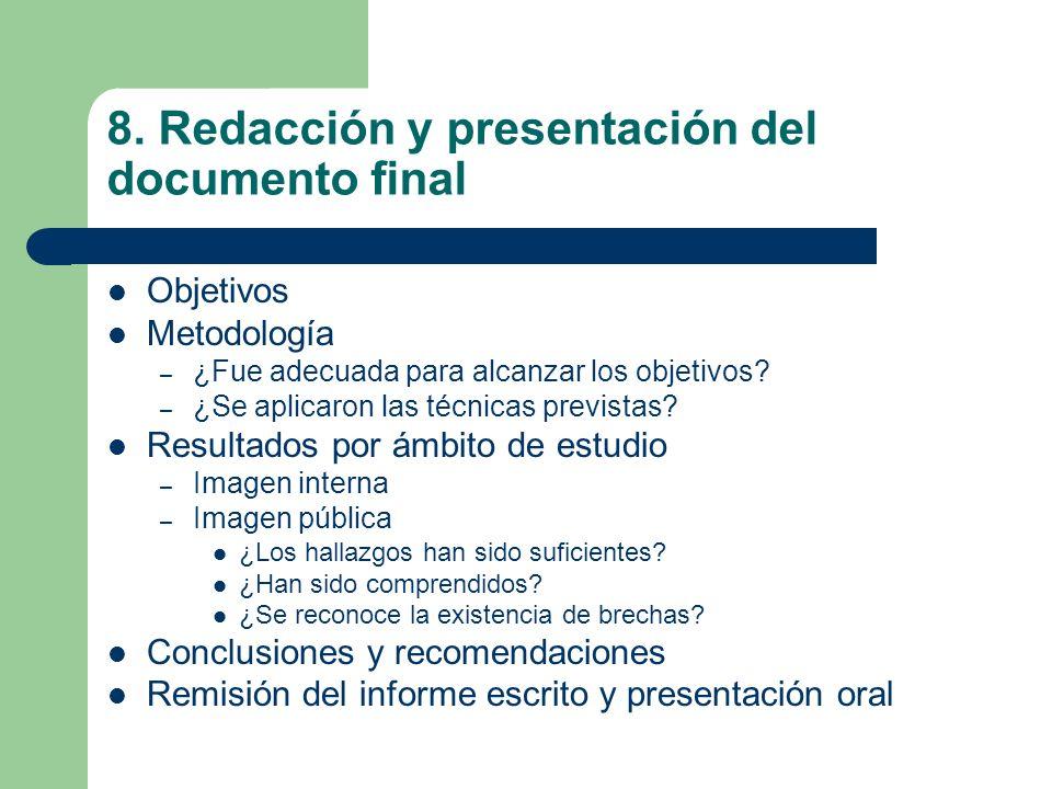 8. Redacción y presentación del documento final
