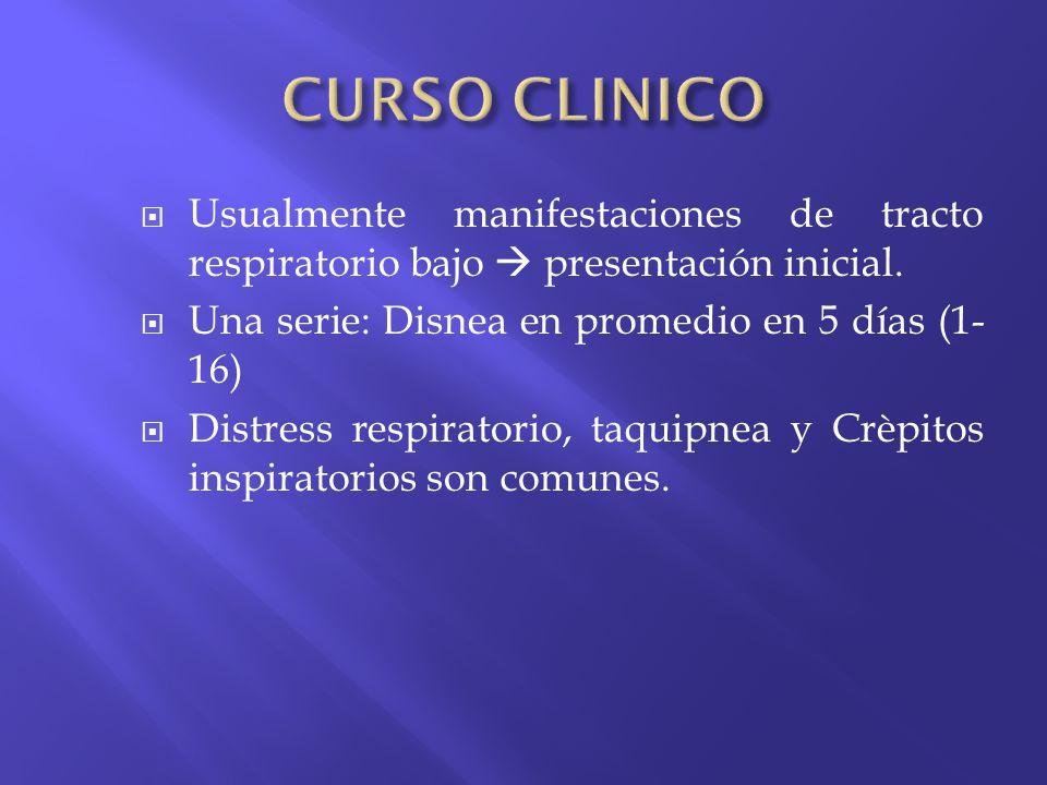 CURSO CLINICO Usualmente manifestaciones de tracto respiratorio bajo  presentación inicial. Una serie: Disnea en promedio en 5 días (1-16)