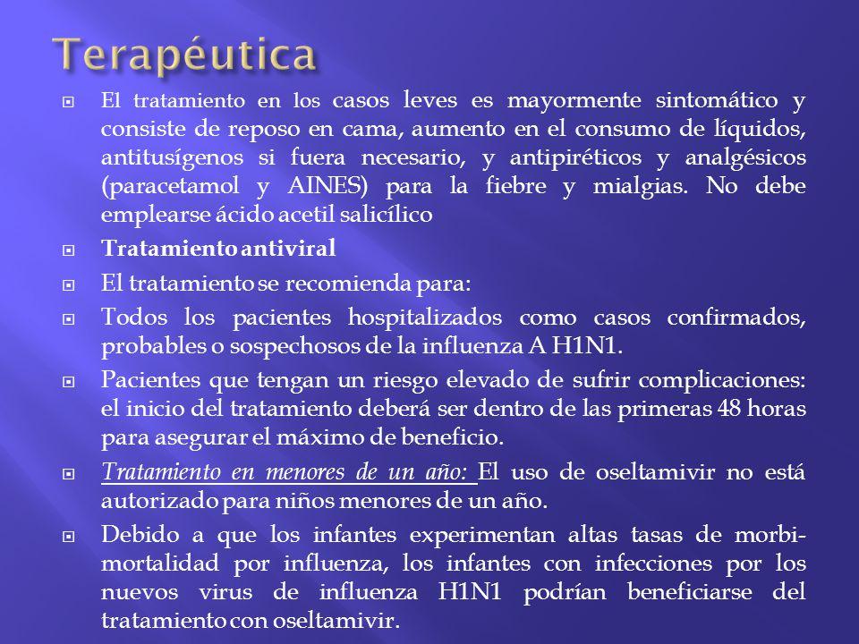 Terapéutica Tratamiento antiviral El tratamiento se recomienda para: